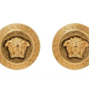 NEW Versace Large Medusa Coin Stud Earrings